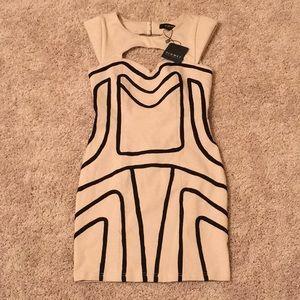 Dresses & Skirts - Taupe/tan black mini dress